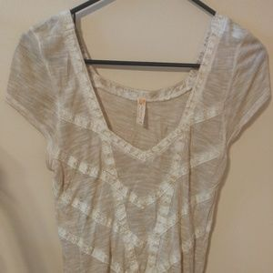 Free People Beige Tan Tunic Blouse Top Cap Sleeve